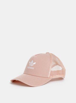 Sapca roz piersica de dama cu broderie adidas Originals Trefoil Trucker