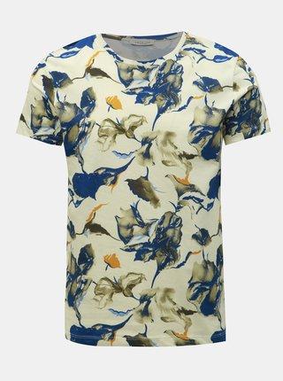 Modro-krémové vzorované tričko Selected Homme Aiden