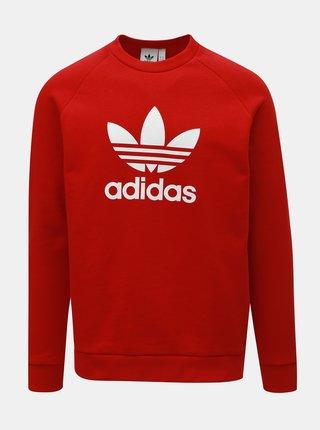 Červená pánska mikina s potlačou adidas Originals Trefoil
