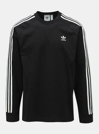 Bluza sport barbateasca neagra cu dungi pe maneci adidas Originals 3-Stripes