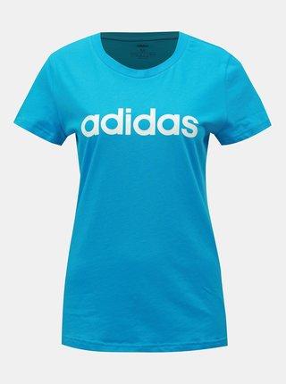 Tricou albastru slim fit de dama cu imprimeu adidas CORE