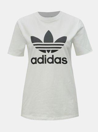 Tricou alb de dama cu imprimeu adidas Originals Trefioil