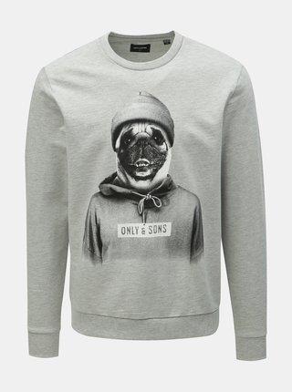 Bluza sport gri cu imprimeu ONLY & SONS Octan