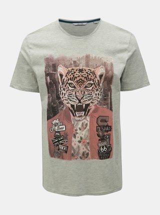 Tricou gri cu imprimeu ONLY & SONS Loris