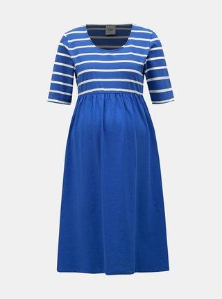 Modré pruhované těhotenské šaty Mama.licious Madelleine