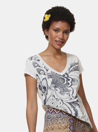 Bílé tričko s potiskem Desigual Cheyennes