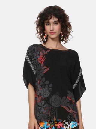 Bluza neagra florala Desigual Donna
