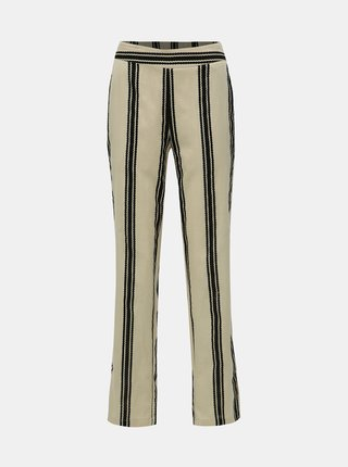 Krémové pruhované kalhoty Noisy May Elsie