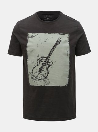 Tmavě šedé tričko s potiskem ONLY & SONS Patrik