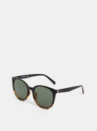 Čierne vzorované slnečné okuliare Pieces Betty