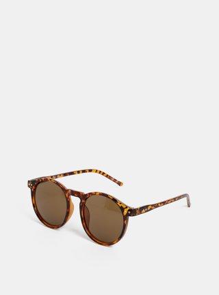 Hnedé vzorované slnečné okuliare Pieces Centucky