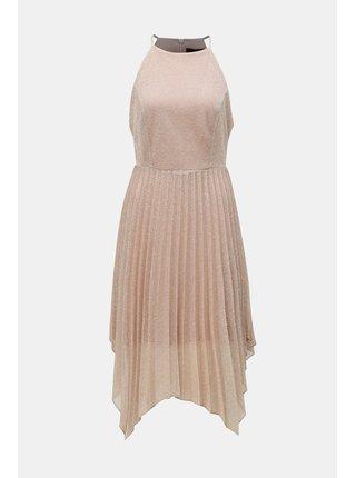 Staroružové plisované šaty na ramienka Dorothy Perkins
