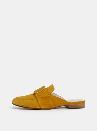 Hořčicové semišové pantofle s ozdobnou sponou Högl
