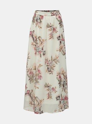 Krémová květovaná maxi sukně VERO MODA Wonda