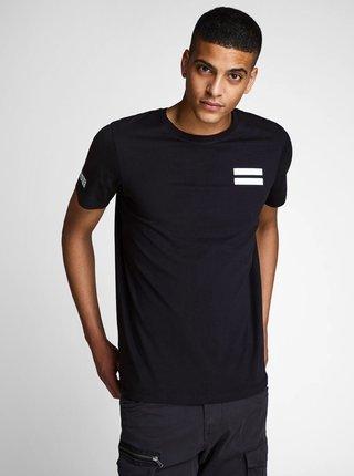 Tricou negru slim cu imprimeu Jack & Jones Jeppes