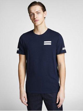 Tmavě modré slim tričko s potiskem Jack & Jones Jeppes