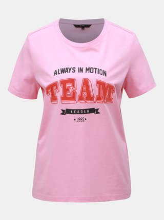 Tricou roz cu imprimeu VERO MODA Team