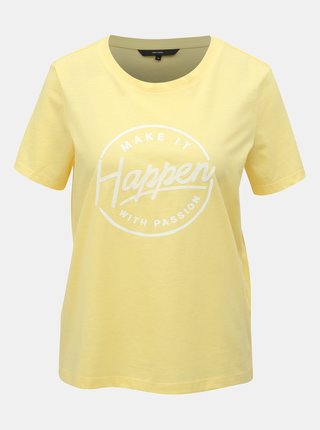 Žluté tričko s potiskem VERO MODA Team