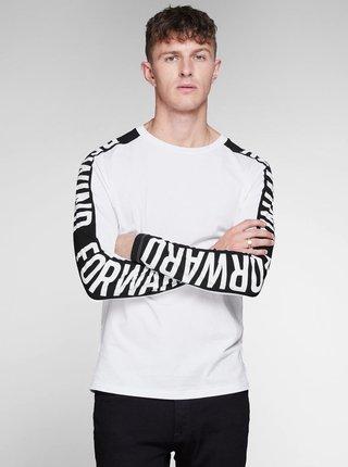 Čierno–biele slim tričko Jack & Jones Rock