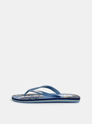 Papuci flip-flop barbatesti albastri cu model Jack & Jones Tropical