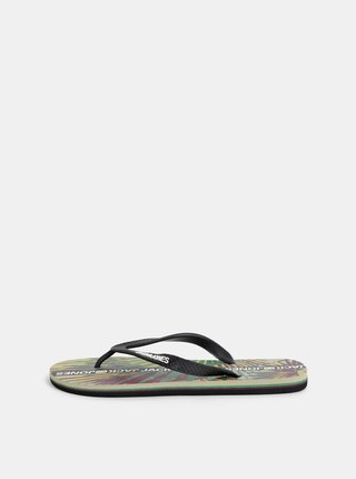 Papuci flip-flop barbatesti verde-negru cu model Jack & Jones Tropical