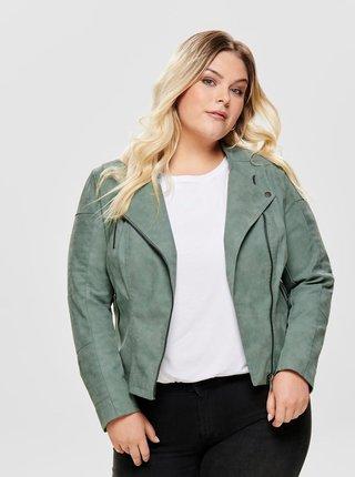 Svetlozelená koženková bunda ONLY CARMAKOMA Avana