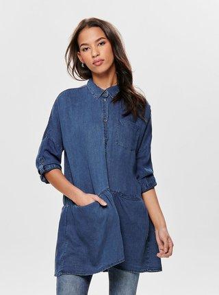 Modrá dlhá rifľová košeľa s vreckami ONLY Klinn