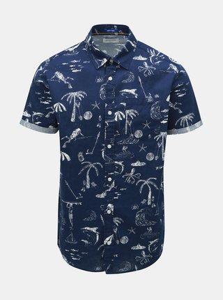 Tmavě modrá vzorovaná košile s příměsí lnu Jack & Jones Ryan