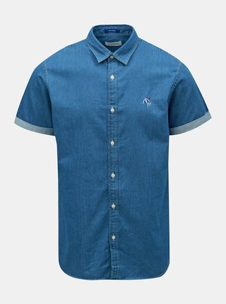 Camasa albastra din denim cu broderie Jack & Jones Surf