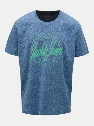 Tricou albastru melanj cu imprimeu Jack & Jones Hazy