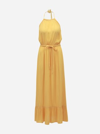 Žlté maxišaty s odhaleným chrbátom Miss Selfridge