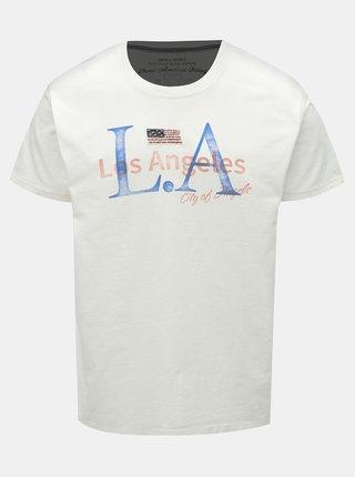 Tricou alb cu imprimeu Jack & Jones Luke