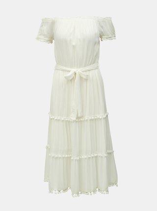 Krémové midišaty s odhalenými ramenami Miss Selfridge