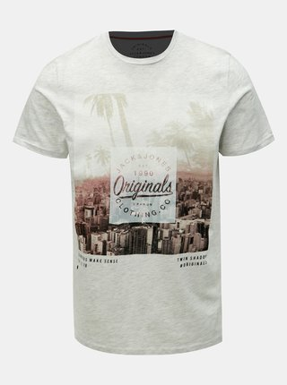 Svetlosivé melírované tričko s potiskem Jack & Jones Stuunt