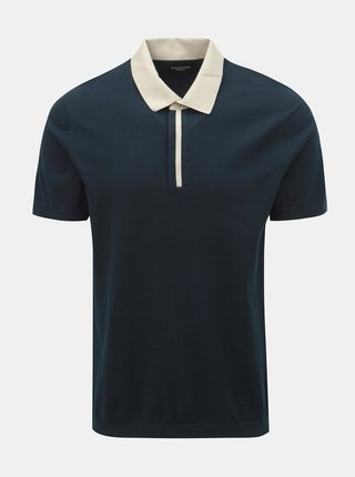 Tmavě modré polo tričko Selected Homme Contrast