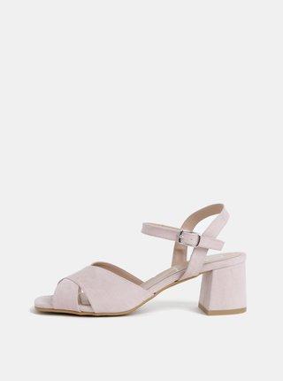 Sandale roz deschis cu aspect de piele intoarsa OJJU