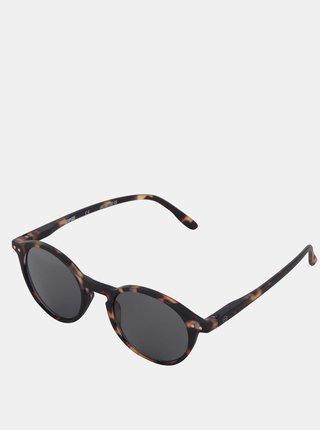 Hnedo-čierne vzorované unisex slnečné okuliare s čiernymi sklami IZIPIZI #D