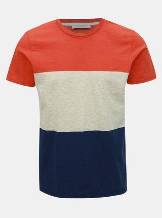 Tricou albastru-oranj Selected Homme Kiyoshi