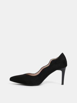 Pantofi negri cu aspect de piele intoarsa OJJU Madrid
