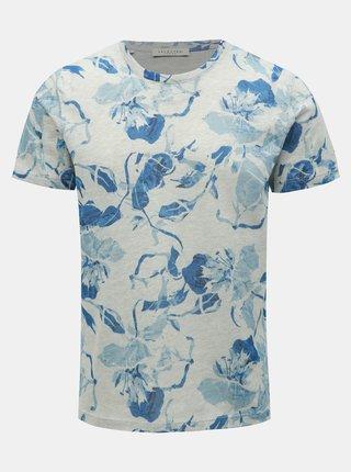 Tricou albastru-gri floral Selected Homme Matthew