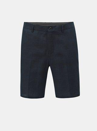 Pantaloni scurti albastru inchis tapered fit cu amestec de in Selected Homme Nik