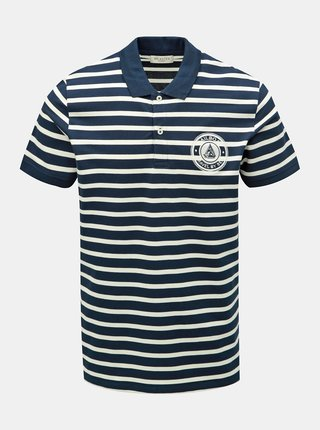 Tricou polo albastru inchis in dungi Selected Homme Capitaine