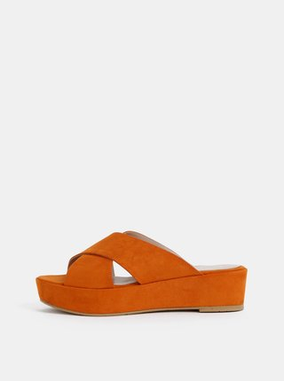 Oranžové pantofle na platformě v semišové úpravě OJJU Luxury