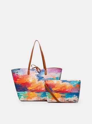 Geanta pentru shopping maro-oranj reversibila cu model si portofel 2 in 1 Desigual Landscape Nimbus Capri