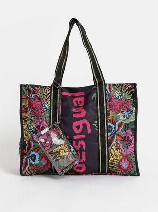 Čierna kvetovaná nepremokavá taška s puzdrom 2v1 Desigual Flower Beach