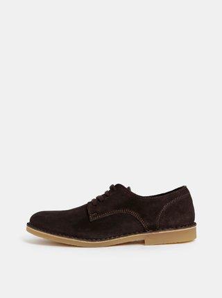 Pantofi barbatesti maro inchis din piele intoarsa Selected Homme Royce Derby