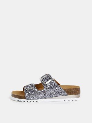 Dámské třpytivé pantofle ve stříbrné barvě Scholl Glam