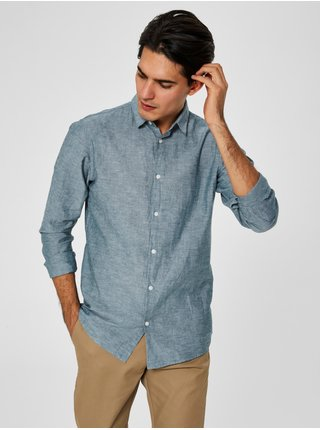 Svetlozelená melírovaná slim fit košeľa s prímesou ľanu Selected Homme Linen