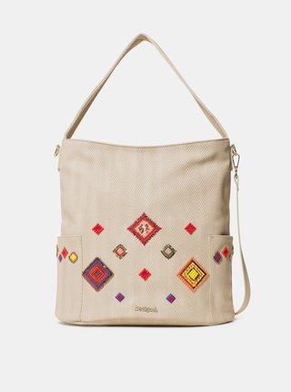 Béžová kabelka s výšivkou Desigual Diamond Yakarta