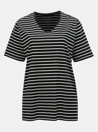 Čierne pruhované basic tričko s rozparkami Ulla Popken